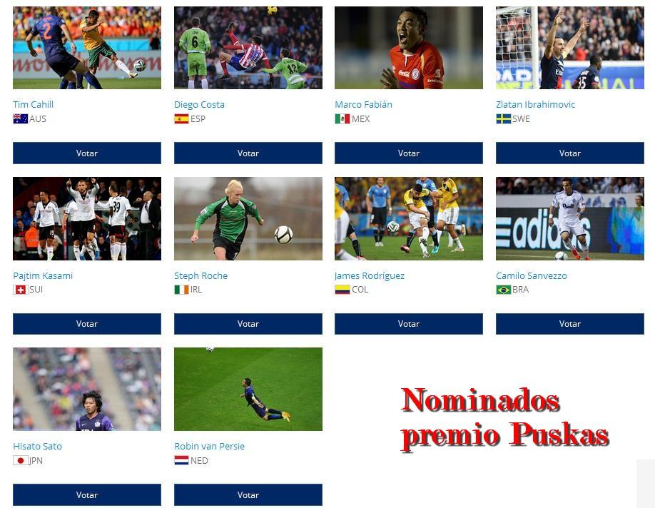 Los 10 candidatos al mejor gol de 2014