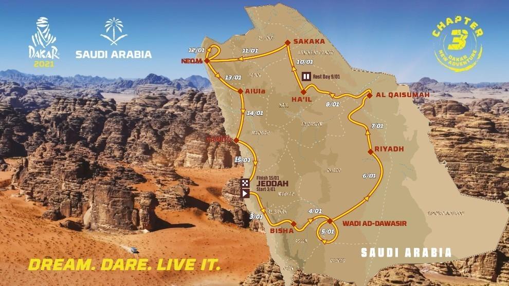 Rally Dakar 2021, etapas y recorrido